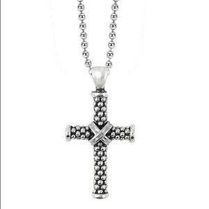 Lagos Signature Caviar Beaded Cross Necklace